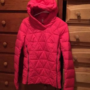 Lululemon pink coral down pullover zippers Sz 6